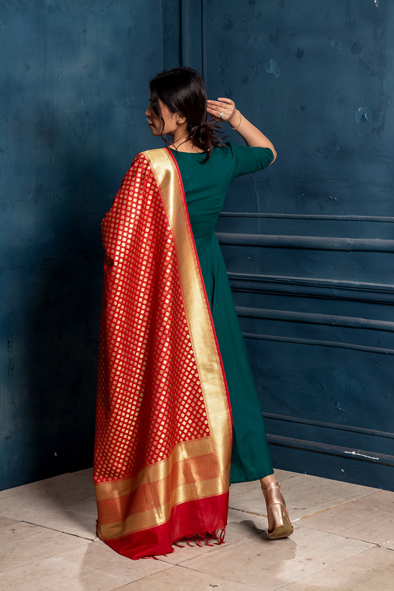Prasana-Casual Knee length dress with Dupatta