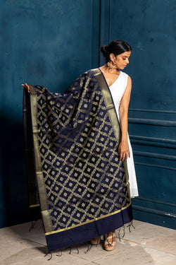 Brocade Benarasi Midnight Blue Dupatta