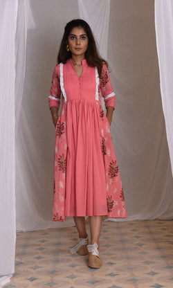 COLLETE-BLOCKPRINT CASUAL KNEE-LENGTH DRESS