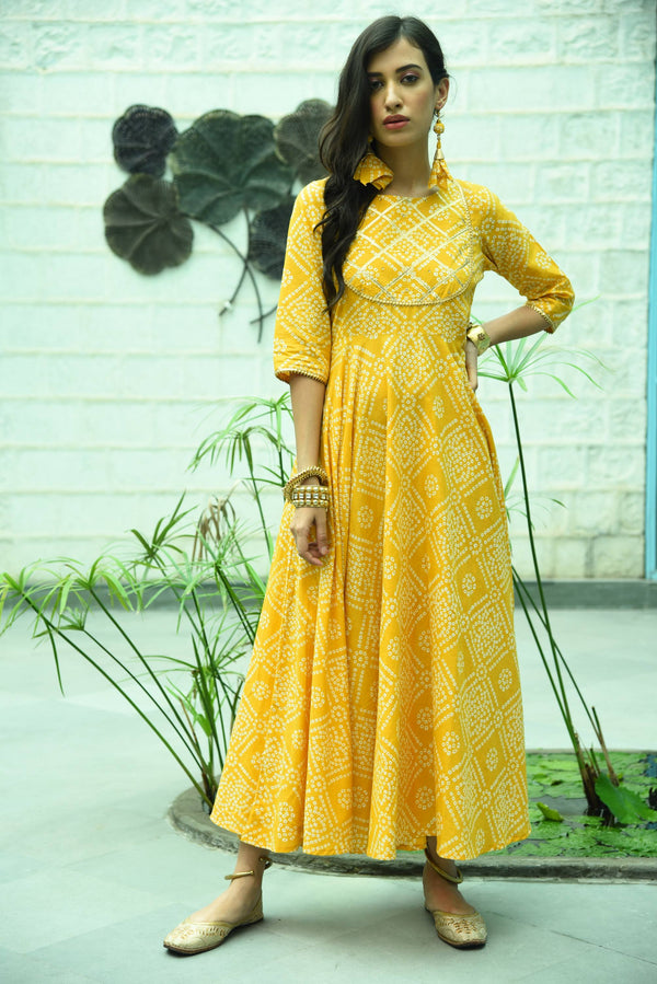 DIKSHA- BLOCKPRINT LONG ANARKALI DRESS