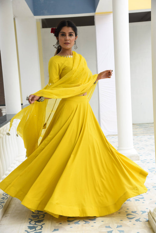 VRINDA- THREE PIECE YELLOW LEHENGA CHOLI DUPATTA SET