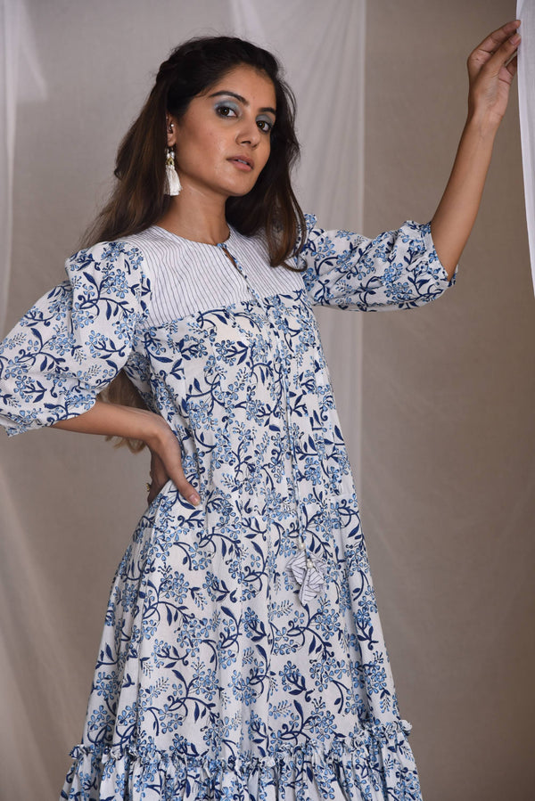 EHSAAS- BLOCKPRINT CASUAL KNEE LENGTH DRESS