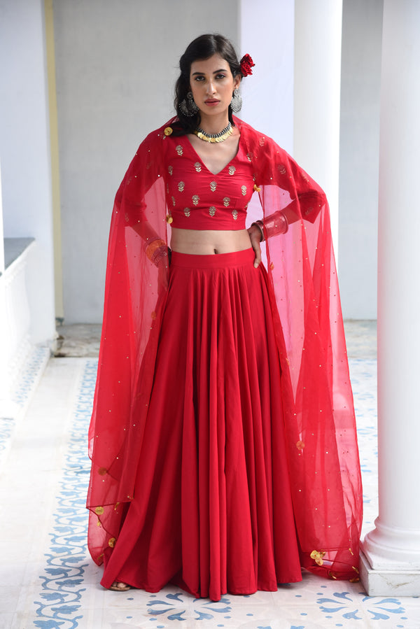 RATI- PURE MULMUL - THREE PIECE LEHENGA CHOLI DUPATTA  SET