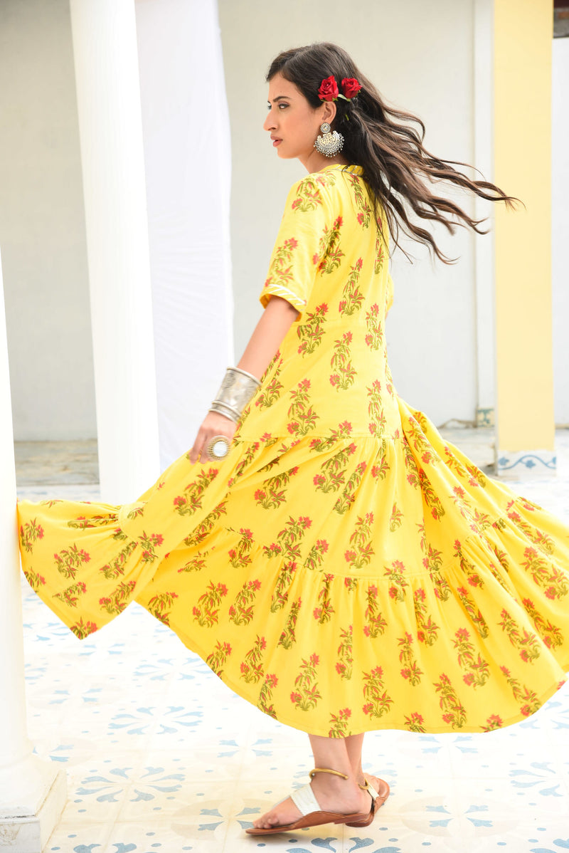 SURYAMUKHI- COTTON BLOCKPRINTED DRESS