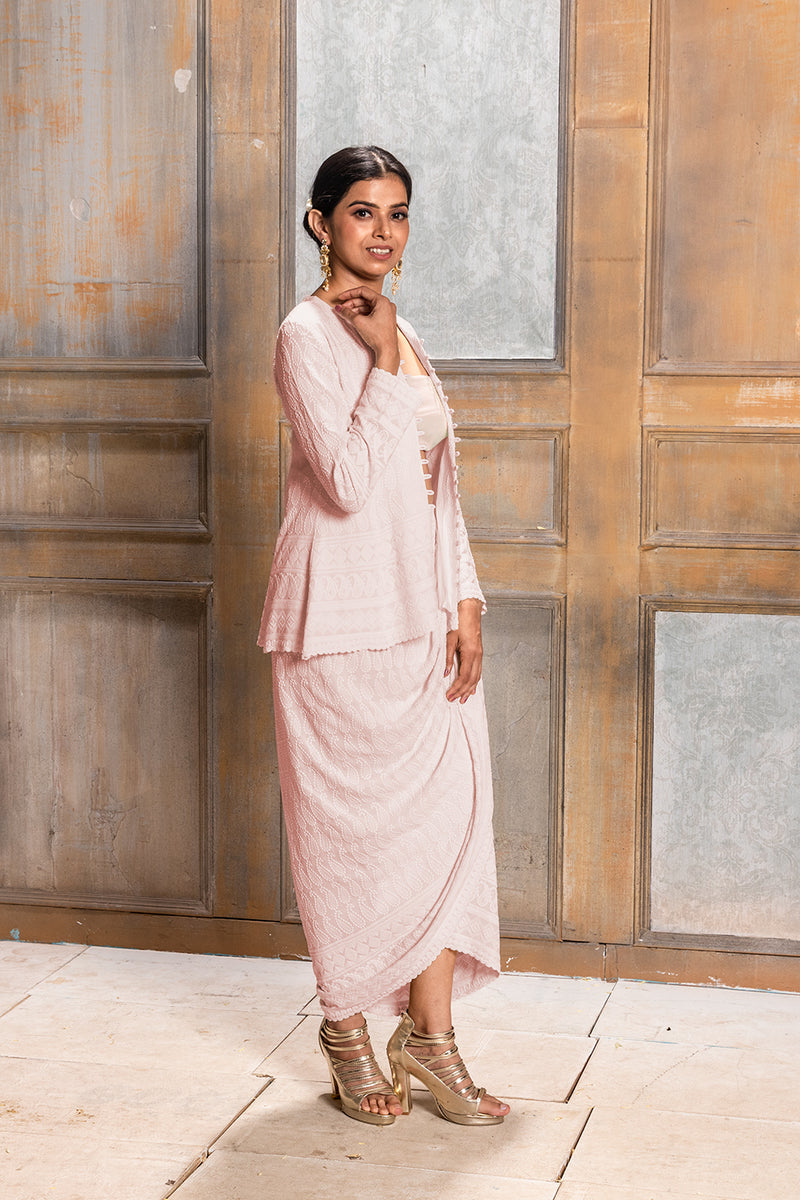 AALIYAH - PINK EMBROIDERED JACKET & DHOTI