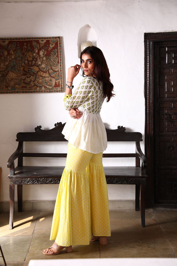 NAAZ Kurti +Sharara - Yellow