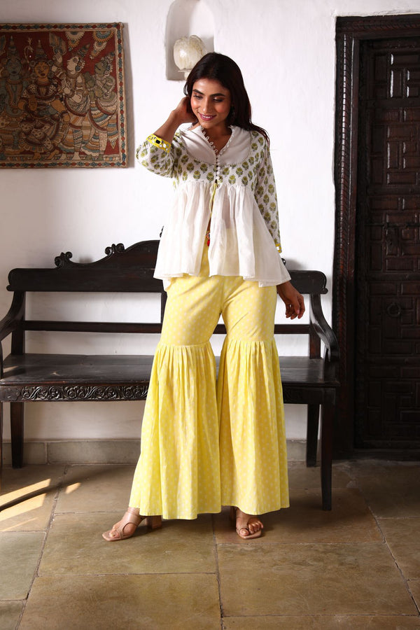 NAAZ Kurti +Sharara +Dupatta - Yellow