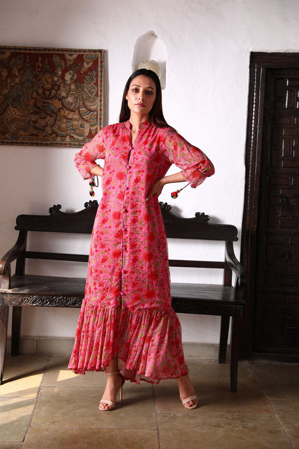 Kyaari Georgette Dress - Pink