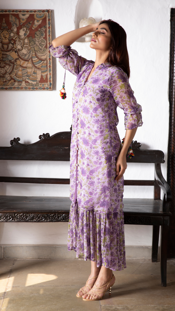 Kyaari Georgette Dress - Lavender