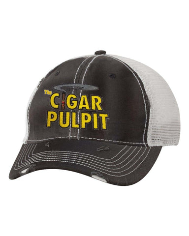 Cigar Pulpit - Black/Silver Dirty Washed Trucker Hat
