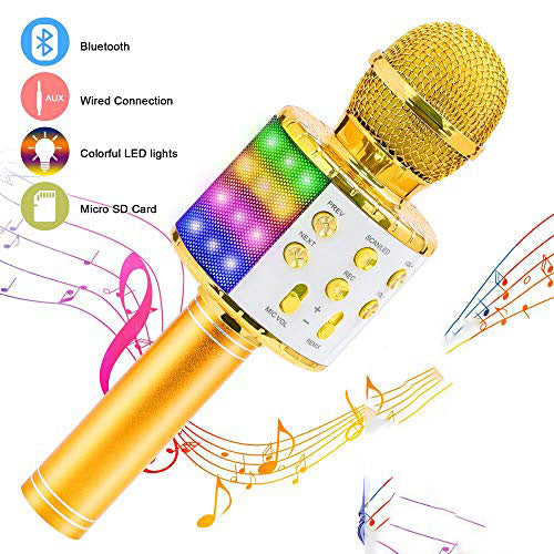 4 in 1  Wireless Bluetooth Karaoke Microphone with Controllable LED Lights( Buy 1 Get 2nd 20% off)