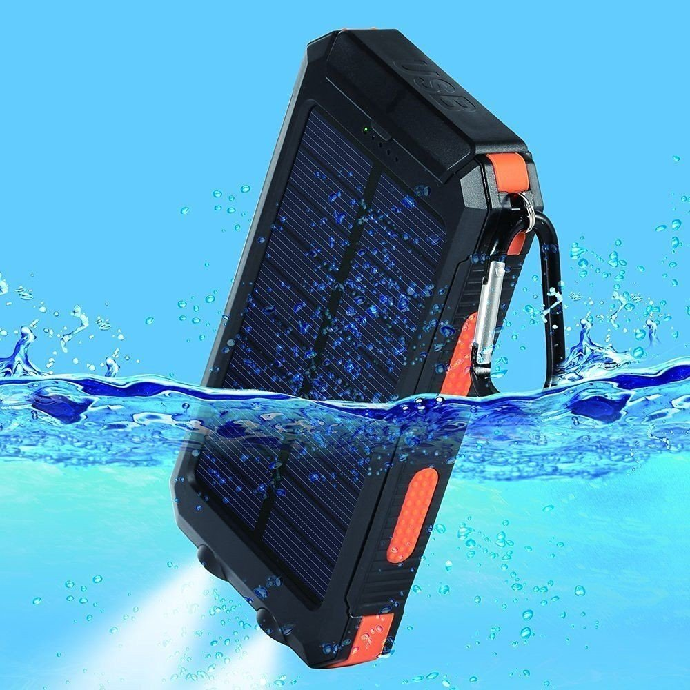 Waterproof Solar Power Bank 20000mah Compass Phone Charging(Waterproof, Dustproof, Shockproof, Compatible Most Smart Phones, Tablets and More)