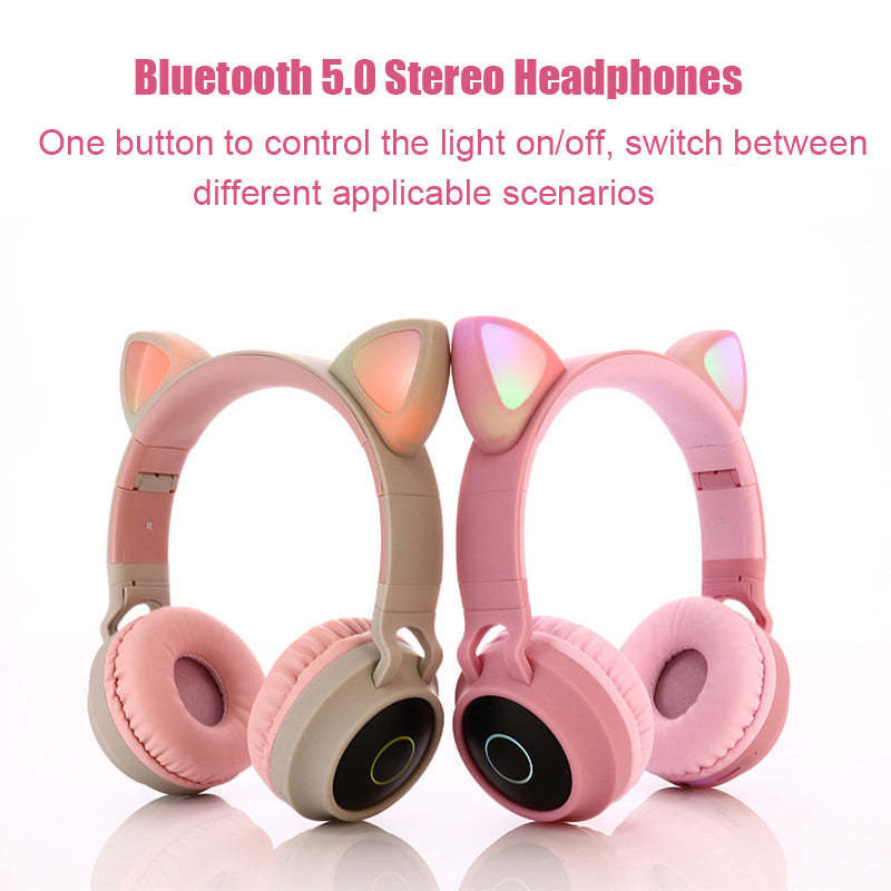 Cat Ear Bluetooth Headphones with LED Light& Noise Cancelling ( Young People Kids Headset Support TF Card 3.5mm Plug With Mic)
