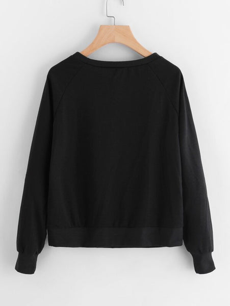 Sequin Lip Patch Raglan Sleeve Sweatshirt - Shop Station EG
