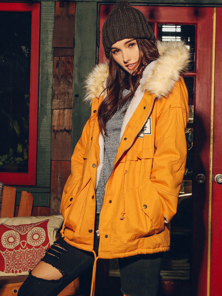 Yellow Fur Hooded Zipper Embellished Fleece Inside Military Coat - Shop Station EG