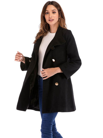Double Breasted Solid Coat - Shop Station EG