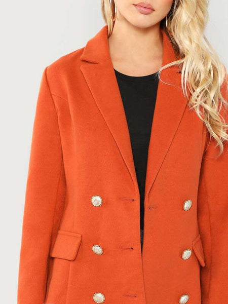 Double Breasted Notched Neck Solid Coat - Shop Station EG