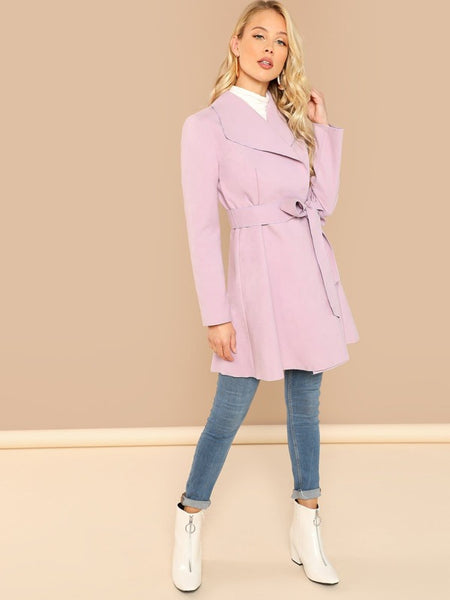 Waterfall Collar Self Belted Coat - Shop Station EG