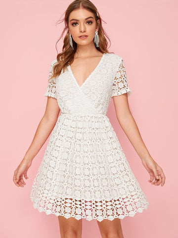 Surplice Neck Lace Overlay Flare Dress - Shop Station EG