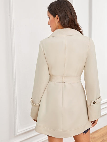 Solid Double Button Belted Trench Coat - Shop Station EG