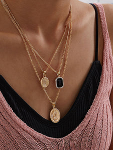 Coin & Geometric Charm Layered Necklace - Shop Station EG