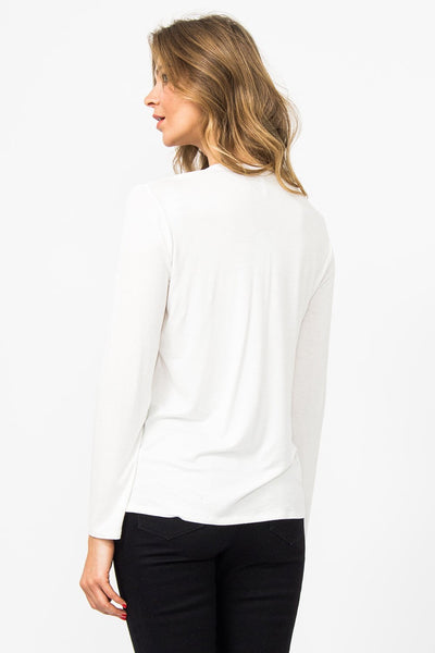 Milano Italy Pleat Back Top With Jersey Back Off White - Shop Station EG