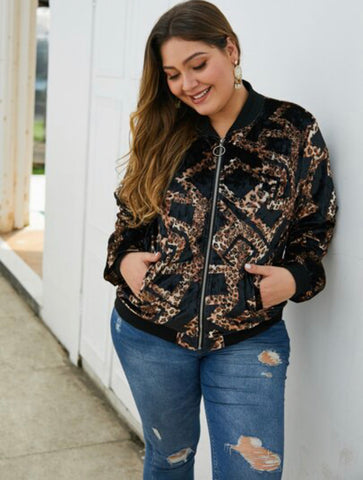 Plus contrast cheetah print velvet bomber jacket - Shop Station EG