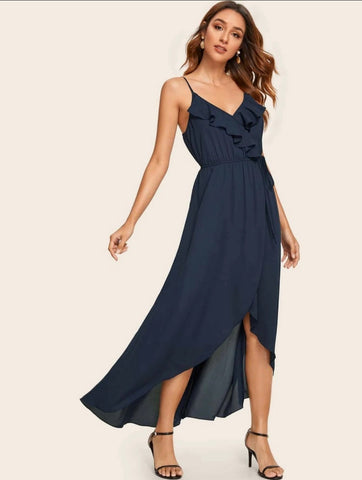 Ruffle trim tie waist wrap cami dress - Shop Station EG