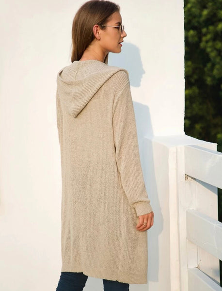 Open front hooded longline cardigan - Shop Station EG
