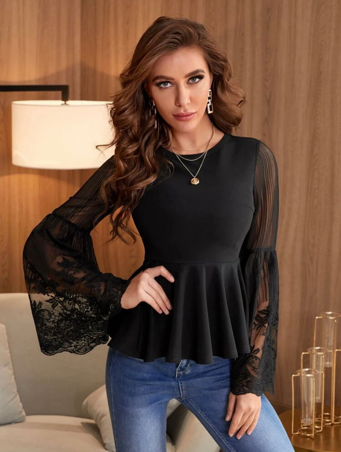 SHEIN Lace Detail Bell Sleeve Ruffle Hem Top - Shop Station EG