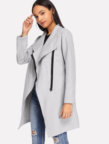 Solid zip decorated coat - Shop Station EG