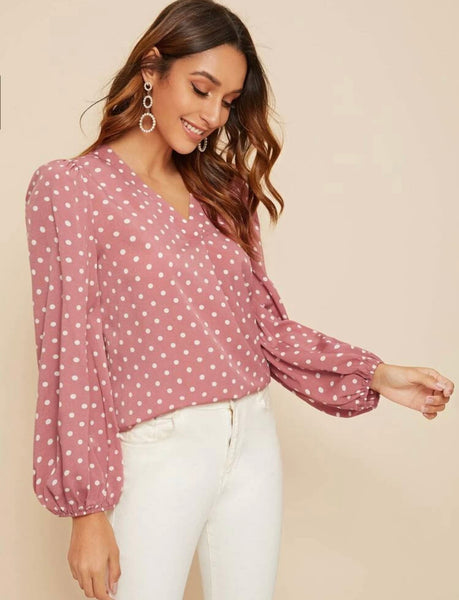 V-neck Polka Dot Lantern Sleeve Top - Shop Station EG