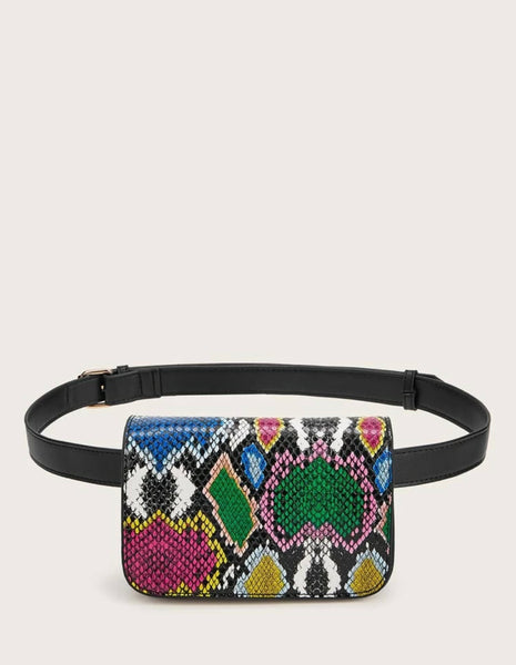 Snakeskin Print Flap Fanny Pack - Shop Station EG