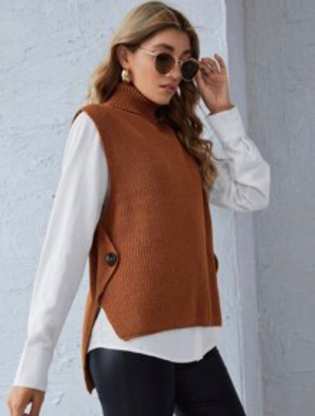 Button Side Sweater Vest Without Blouse - Shop Station EG