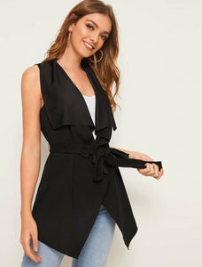 SHEIN Solid Waterfall Collar Belted Vest - Shop Station EG