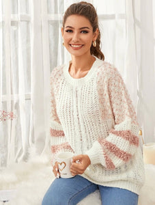 Fluffy trim cable knit striped sweater - Shop Station EG
