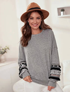 Frill pom pom fringe detail drop shoulder sweater - Shop Station EG