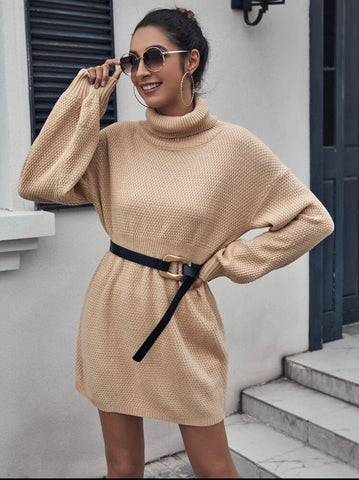 Turtle Neck Drop Shoulder Sweater Dress Without Belt - Shop Station EG
