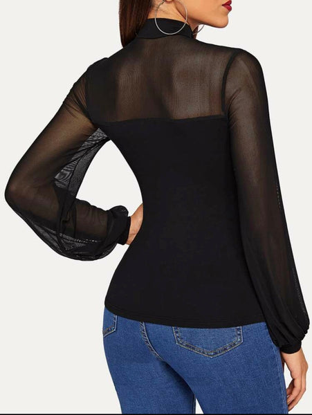 Shein Tie Neck Sheer Mesh Yoke Top - Shop Station EG