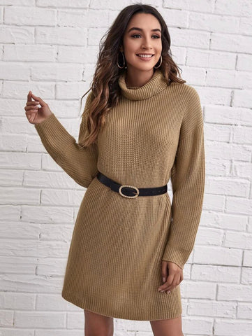 Funnel Neck Drop Shoulder Sweater Dress Without Belt - Shop Station EG