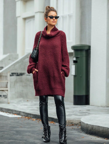 High neck pocket side sweater dress - Shop Station EG