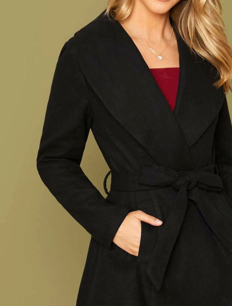 Pocket side belted waterfall coat - Shop Station EG