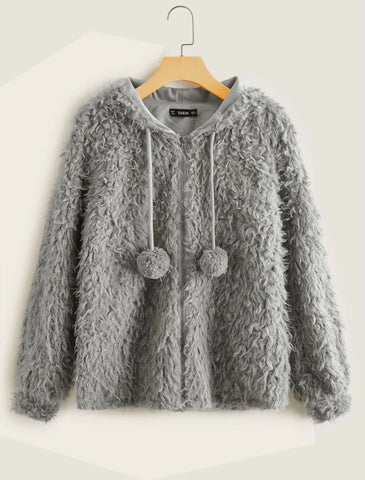 Pompom Detail Teddy Jacket - Shop Station EG