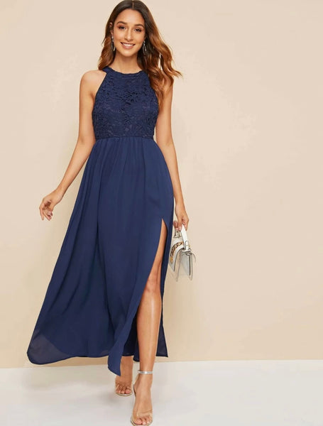 Guipure Lace Bodice Split Thigh Fit and Flare Dress - Shop Station EG
