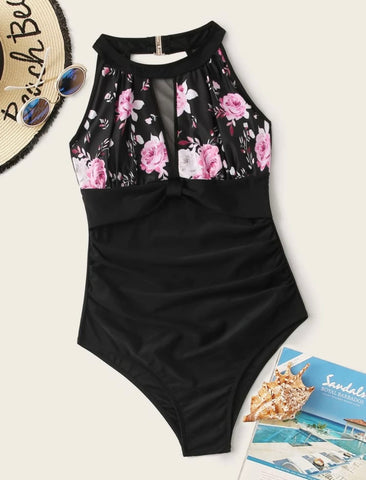 Floral Print Contrast Mesh One Piece Swimwear - Shop Station EG