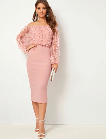 Appliques Mesh Bishop Sleeve Bardot Pencil Dress - Shop Station EG