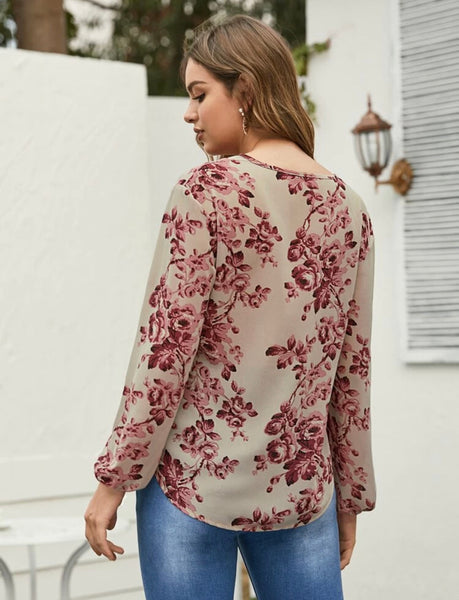 Floral Print Tie Neck Blouse - Shop Station EG