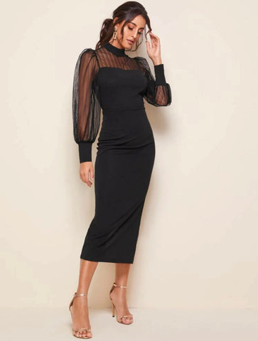 SHEIN Mock-neck Lantern Sleeve Mesh Yoke Dress - Shop Station EG