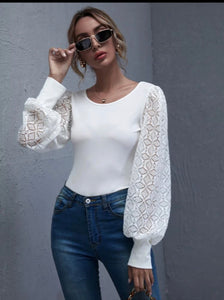 Guipure Lace Lantern Sleeve Rib-knit Top - Shop Station EG