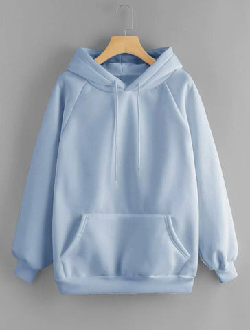 Drawstring Detail Solid Hoodie - Shop Station EG